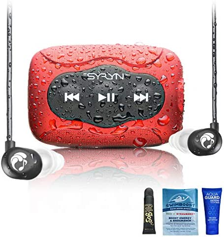 Swimbuds Flip Headphones and eight GB SYRYN Waterproof MP3 Player with Shuffle Feature