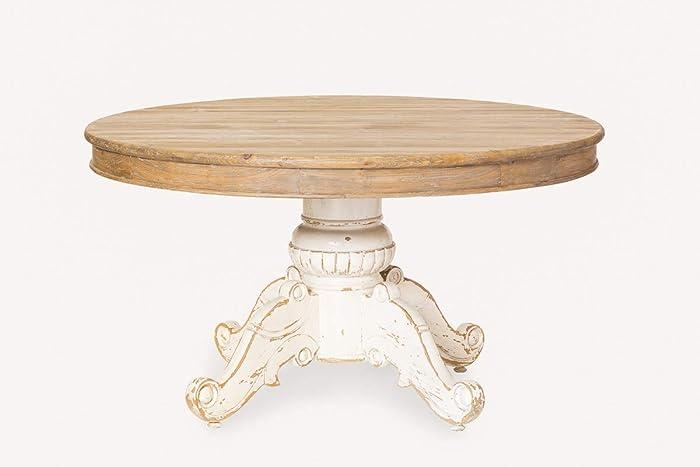 Mesa redonda extensible blanca madera: Amazon.es: Handmade