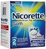 Nicorette OTC Stop Smoking Nicotine Gum, 2mg-White Ice Mint-160 ct. (Quantity of 1)