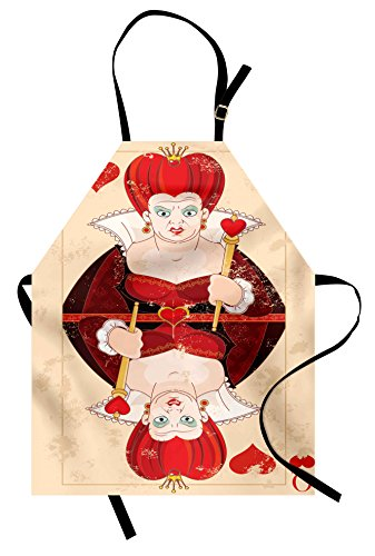 Alice In Wonderland Card Costumes (Alice in Wonderland Apron by Ambesonne, Queen Cards Playing Alice Character in Fictional Fairy Tale Print, Unisex Kitchen Bib Apron with Adjustable Neck for Cooking Baking Gardening, Red Brown Ecru)