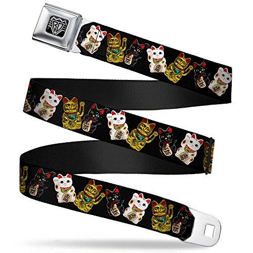 Buckle-Down Seatbelt Belt - Maneki Neko Lucky Cats Gold/Black/White - 1.0