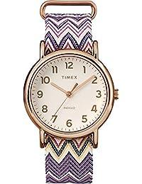 Timex Women's TW2R59000 Weekender 38 Purple Chevron Fabric Slip-Thru Strap Watch