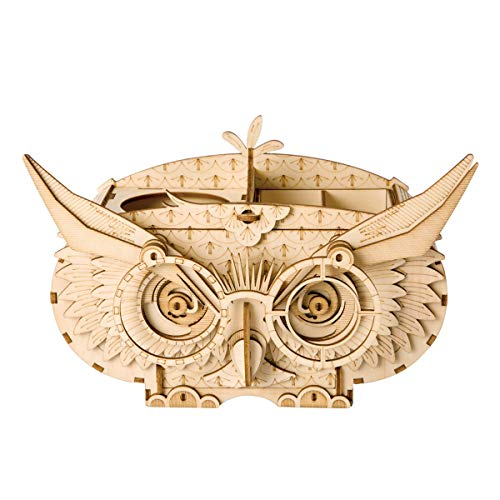 Rolife 3D Wooden Puzzle Assemble Toy-DIY Model Craft Kit-Home Decoration-Best Educational Birthday Day Gift for Boys Girls Friends Son Adults(Owl Box)