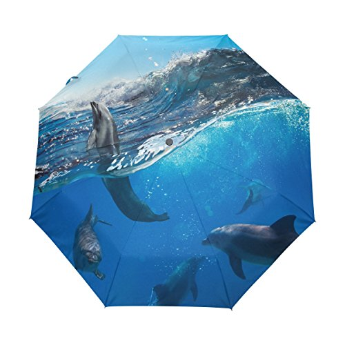 Dolphin Pattern Print Lightweight UPF 50+ Anti-UV Parasol Waterproof Windproof 3 Folds Auto Open Close Umbrella