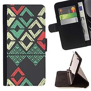 Momo Phone Case / Flip Funda de Cuero Case Cover - Patrón trullo Rojo Gris Arte - Samsung Galaxy Note 5 5th N9200