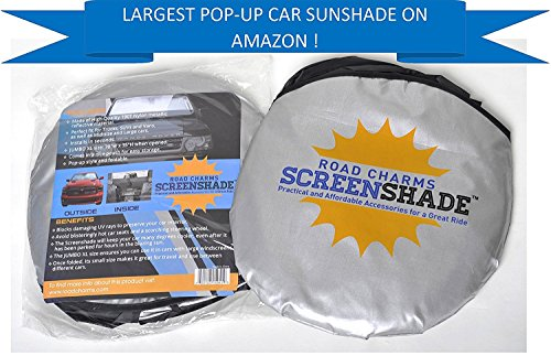 Windshield Sun Shade - Jumbo XL (70 x 35 inches) Car Window Shade - Easy to Use Folding Shade Nylon UV Protector - Keeps Car Cool - Pop-Up Style - Great Fit for Vans, SUVs and Trucks