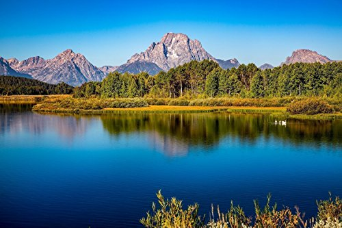 Oxbow Bend Photography Art Print - Picture of Mt. Moran in Grand Teton National Park Rocky Mountain Artwork for Home Decoration 5x7 to (Mt Moran Grand)