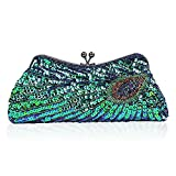 Women Glitter Sequins Beaded Evening Bag Peacock Clutch Handbag Chain Shoulder Bag for Wedding Bridal Party Prom