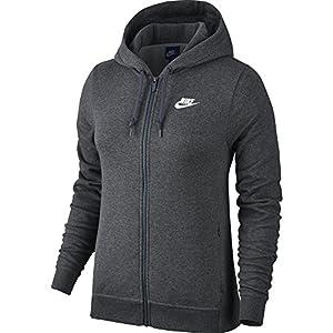 NIKE Sportswear Women's Full Zip Hoodie, Charcoal Heather/Charcoal Heather/White, XX-Large
