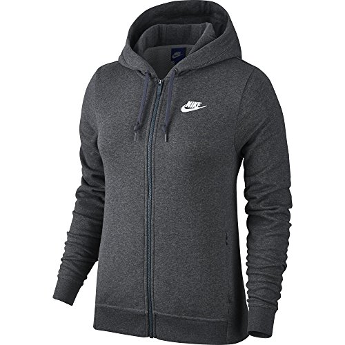 NIKE Sportswear Women's Full Zip Hoodie, Charcoal Heather/Charcoal Heather/White, Medium ()