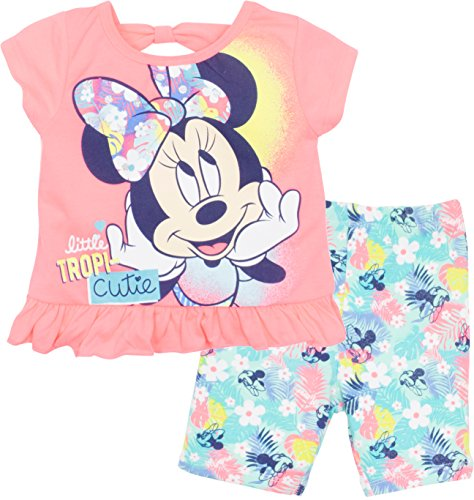 Disney Minnie Mouse Baby Infant Girls' Ruffle Tunic & Bike Shorts Set, Coral (24 Months)