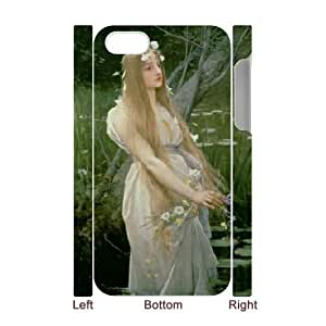 3D IPhone 4/4s Case, Girls Protective Flowers Girl Case for IPhone 4/4s {White}
