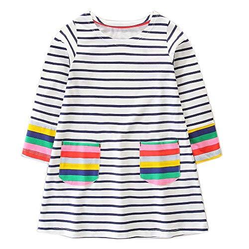9bea71da67f9e2 OHBABYKA Little Girls Cute Casual Cotton Animals Printed Stripe Long Sleeve  Playwear Dress (7T