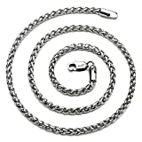 """AmyRT Jewelry 4mm Titanium Steel Wheat Silver Chain Necklaces for Men & Women 16"""""""