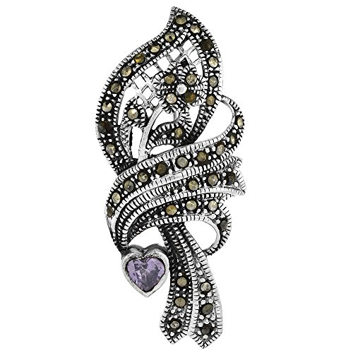 Sterling Silver Marcasite Floral Brooch Pin Purple Heart Cubic Zirconia, 15/16 inch wide