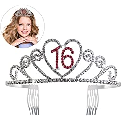 PIXNOR Birthday Party Rhinestone Crystal Tiara Crown - Sweet 16 Birthday Tiara