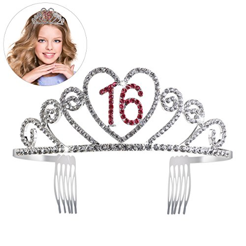 PIXNOR Birthday Party Rhinestone Crystal Tiara Crown - Sweet 16 Birthday -