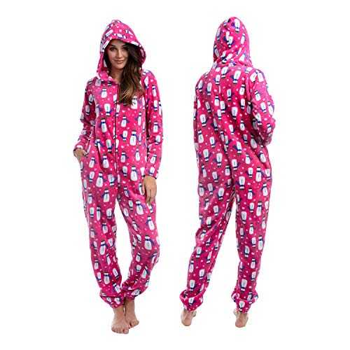 Body Candy Womens Printed Soft Hoodie Plush Onesie Critters, SNOW FUN, Pink -  Small -