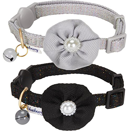 Blueberry Pet Spring Pack of 2 Cat Collars, The Beloved Fancy Metallic Thread Adjustable Breakaway Cat Collar with Bell and Flower Deco, Sleek Grey & Iconic Black, Neck 9