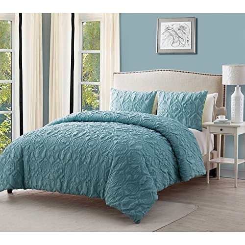 3 Piece Queen Blue Damask Comforter