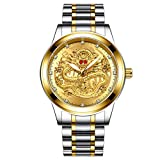 Sodoop Wrist Watches for Mens 30M Waterproof Luxury Golden Analog Quartz China Diamond Dragon Face Pattern Dial Watch, with Stainless Steel Strap Wristwatch (A)