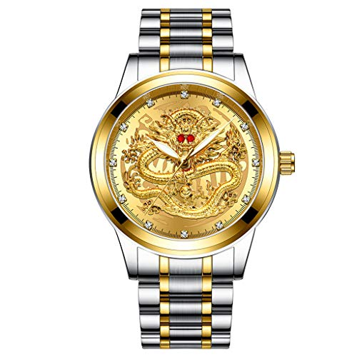 Sodoop Wrist Watches for Mens 30M Waterproof Luxury Golden Analog Quartz China Diamond Dragon Face Pattern Dial Watch, with Stainless Steel Strap Wristwatch (A) (Bracelet Resistant Breitling Water)