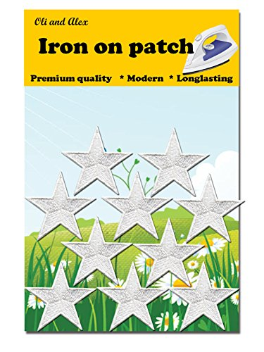 Iron On Patches - White Star Patch 10 pcs Iron On Patch Embroidered Applique A-31