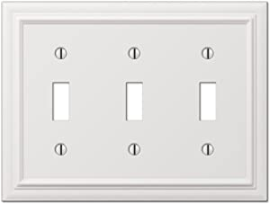 Amerelle Continental Triple Toggle Cast Metal Wallplate in White