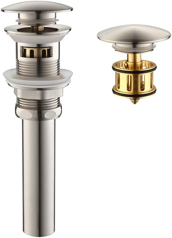 """HOMELODY Pop Up Drain, 1 5/8"""" Bathroom Sink Drain with Removable Brass Strainer Basket, Anti-clogging Vessel Sink Drain Brushed Nickel with Overflow, HL8018BBN"""