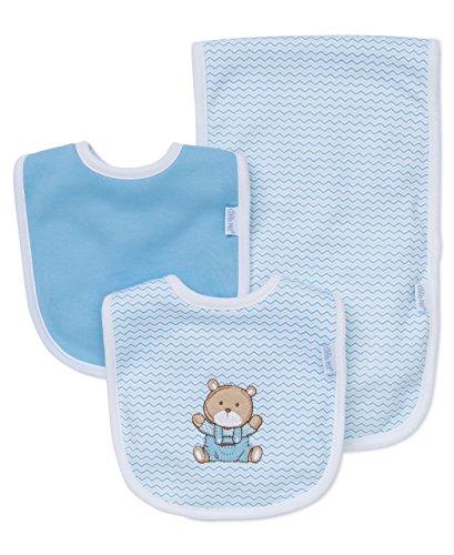 (Little Me Baby Boy Newborn Bib and Burp set,  Light Blue,  One Size)