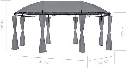mewmewcat Gazebo Pabellón de Jardín Cenador Pérgola de jardín 530 x 350 x 265 cm Gris Antracita: Amazon.es: Deportes y aire libre