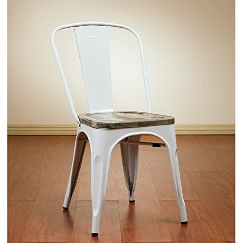 Ash Dining Chair (Office Star Bristow White Metal Frame Chair with Vintage Wood Seat, Ash Crazy Horse Finish,)