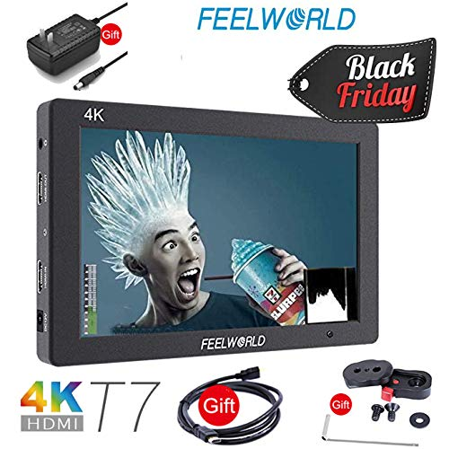 FEELWORLD T7 7 inch 4K DSLR Video Monitor, Full HD 1920x1200 IPS Aluminum Camera Field Monitor with 4K HDMI 8V DC in/Out
