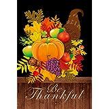 Lantern Hill Be Thankful Thanksgiving Garden Flag; Double Sided; 12.5 x 18 inches; Rustic Country Pumpkin Cornucopia; Fall Seasonal Decorative Banner