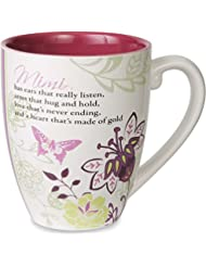 Pavilion Gift Company Mark My Words Mimi Floral Butterfly Grandma Coffee Tea Mug, Large, Pink