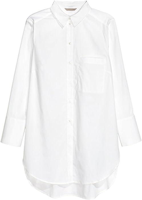 Haoduoyi Womens Plus Size Button Down Longline High Low Top Shirt S
