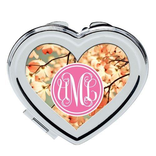 iFUOFF Compact Makeup Mirror, Sakura Pink Cherry Monogram Design for Girls Costom Heart Shaped Ultra-thin 0.8cm Compact Makeup Mirror -
