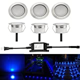 Sumaote Low Voltage LED Deck Light Kit Φ1.77'' Waterproof Recessed Deck Lamp LED In-ground Lights for Step Stairs Outdoor Garden Yard Patio Landscape Decor Blue, Pack of 6