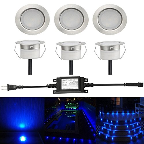 Sumaote Low Voltage LED Deck Light Kit Φ1.77'' Waterproof Recessed Deck Lamp LED In-ground Lights for Step Stairs Outdoor Garden Yard Patio Landscape Decor Blue, Pack of 6 by Sumaote