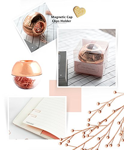 METAN 100pcs Rose Gold Paper Clips 28mm in Magnetic Lid Acrylic Paper Clip Holder for Office Supplies Desk Organizer Photo #4