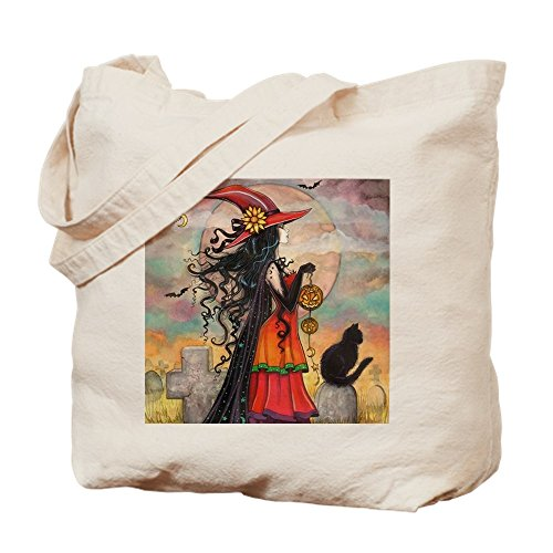 CafePress Witch Way Halloween Witch Art Natural Canvas Tote Bag, Cloth Shopping Bag]()