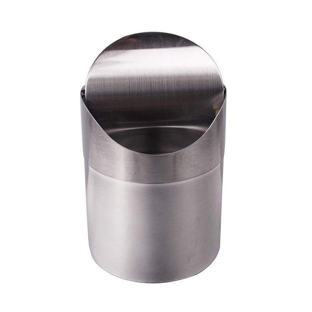 OceanEC Recycling Trash Can with Lid, Fashion Mini Brushed Stainless Steel Wave Cover Counter Top Trash Can Garbage Bin Perfect for The Kitchen Bathroom Office Use