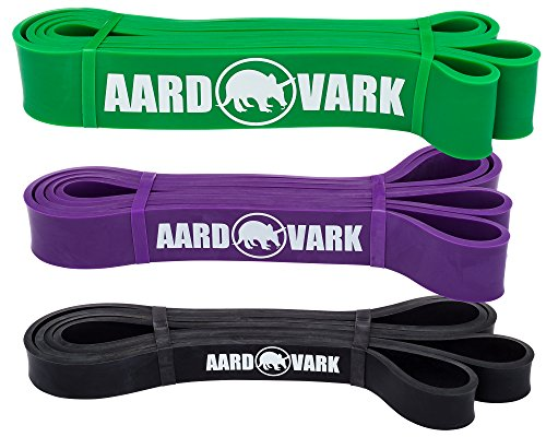 Resistance Band Set of 3 Exercise Bands – Green, Purple, and Black Power Bands for Pull Up Assist For Sale