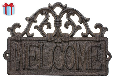Cast Iron Rustic Welcome Sign | Decorative Welcome Wall Plaque | Vintage Design | For Door, Entrance or Porch | Indoor or Outdoor Use | 9.4 X 6.5