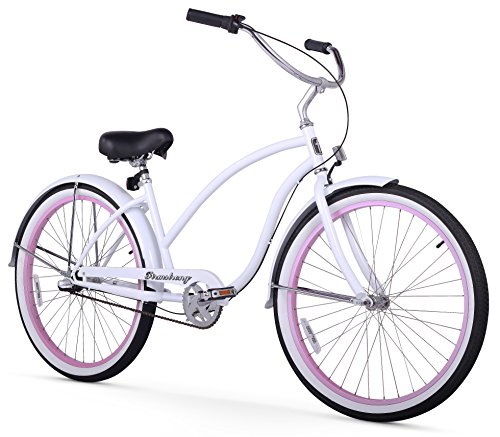 Firmstrong Chief Lady Three Speed Beach Cruiser Bicycle, 26-Inch, White w/ Pink Rims