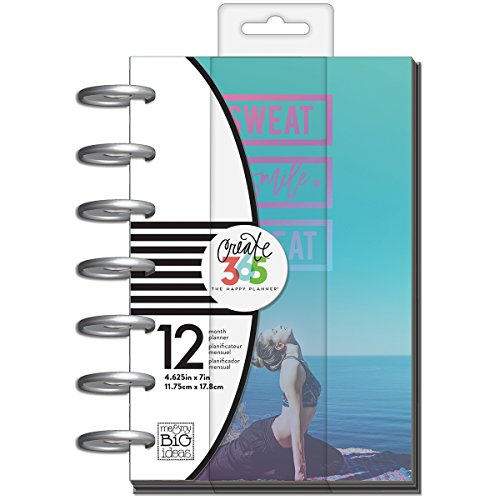 me & my BIG ideas Create 365 The Happy Planner Mini Fitness Tracker and Food Journal, Sweat Smile Repeat, 12 Month -