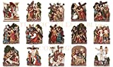 Atlantic Collectibles Catholic Church 15 Stations Of The Cross La Via Crucis Crucifixion of Jesus Religious Decorative Figurine Set 9.25'H