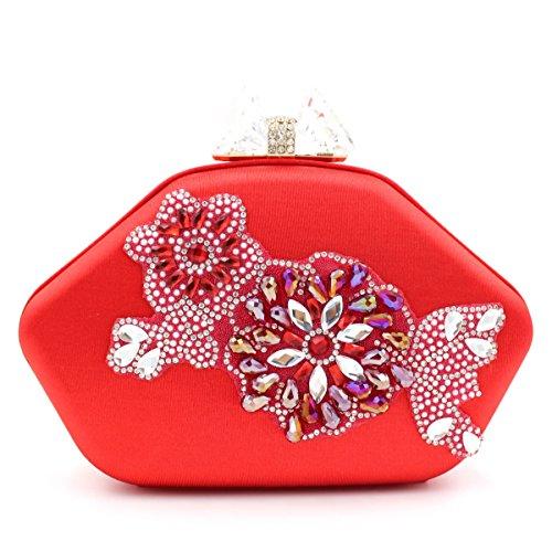 Chirrupy Red Mujer Chief Para Cristal Bolsas Bolsos Noche Embrague qUvAwfq