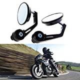 KaTur 7/8 inch 22MM Mirror Universal Motorcycle Rearview Mirror Aluminum Alloy Round Shaped Motorcycle Handlebar Rear View Mirror for Yamaha Honda Triumph Ducati Motif Black