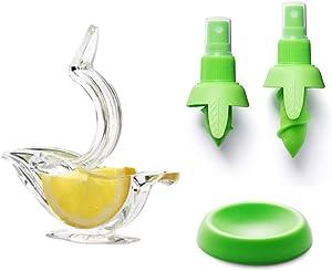 Lemon Squeezer Citrus Sprayer with Manual Lemon Juicer Squeezer Set,Fresh Fruit Juice Serving Tools Easy Spray Nozzle Plug and Extruder for lemon juice